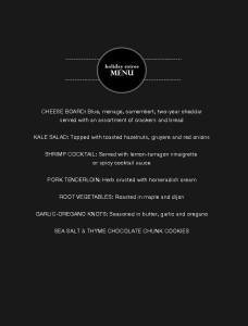 holiday soiree menu