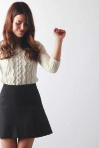 cable knit & flare skirt   perpetually chic