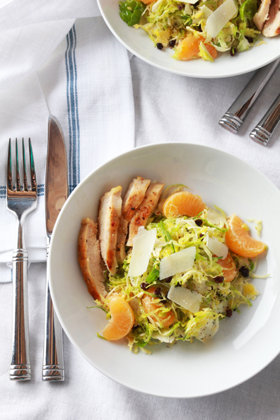 shaved brussels sprouts with clementines, currants and grilled chicken | perpetually chic