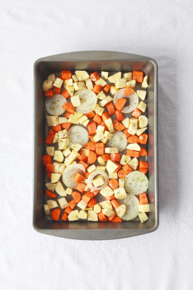 Creamy Polenta & Herbs de Provence Roasted Root Vegetables | Perpetually Chic