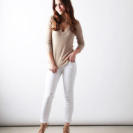 cream sweater + white jeans | Perpetually Chic