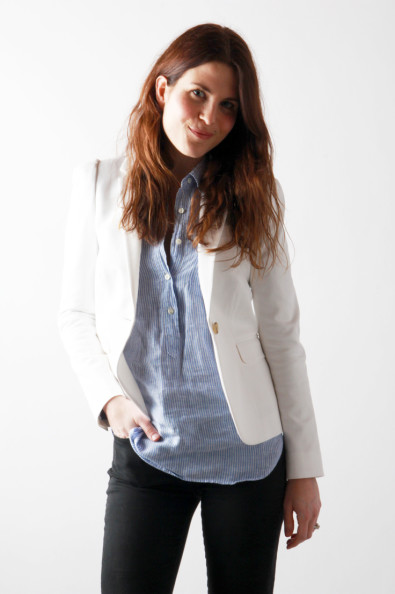 White Blazer, Striped Pullover, Black Pants | Perpetually Chic
