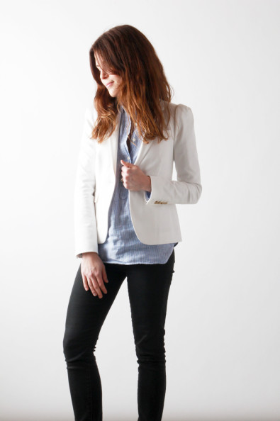 White Blazer, Striped Pullover, Black Pants | Perpetually Chic