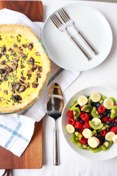 Mushroom, Ham & Swiss Quiche   Perpetually Chic
