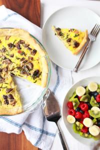 Mushroom, Ham & Swiss Quiche | Perpetually Chic