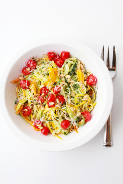 Summer Squash Noodles with Tomatoes, Zucchini Blossoms & Pine Nuts | Perpetually Chic