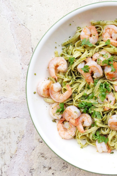 Spicy Pesto Pasta with Shrimp | Perpetually Chic