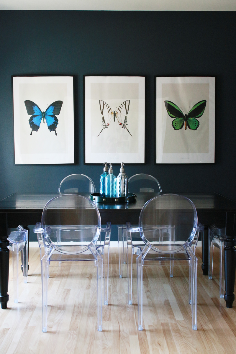 Navy Blue Dining Room Butterfly Prints