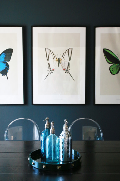 Navy Blue Dining Room Butterfly Prints | Perpetually Chic